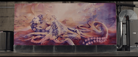 Adaptive Octopus thermochromic mural by Bacon_Art Is Everywhere