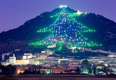 Gubbio Christmas tree Italy. Photo Fantuz Olimpio/SIME-4Corners Images