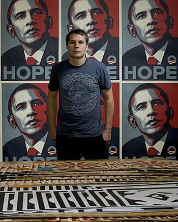 shepardfaireyandhishope_2. Photo credit Damian Dovarganes / Associated Press