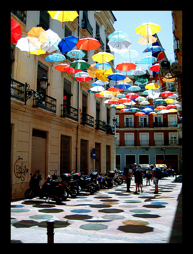Luke\'s Photo of Umbrellas between two buildings