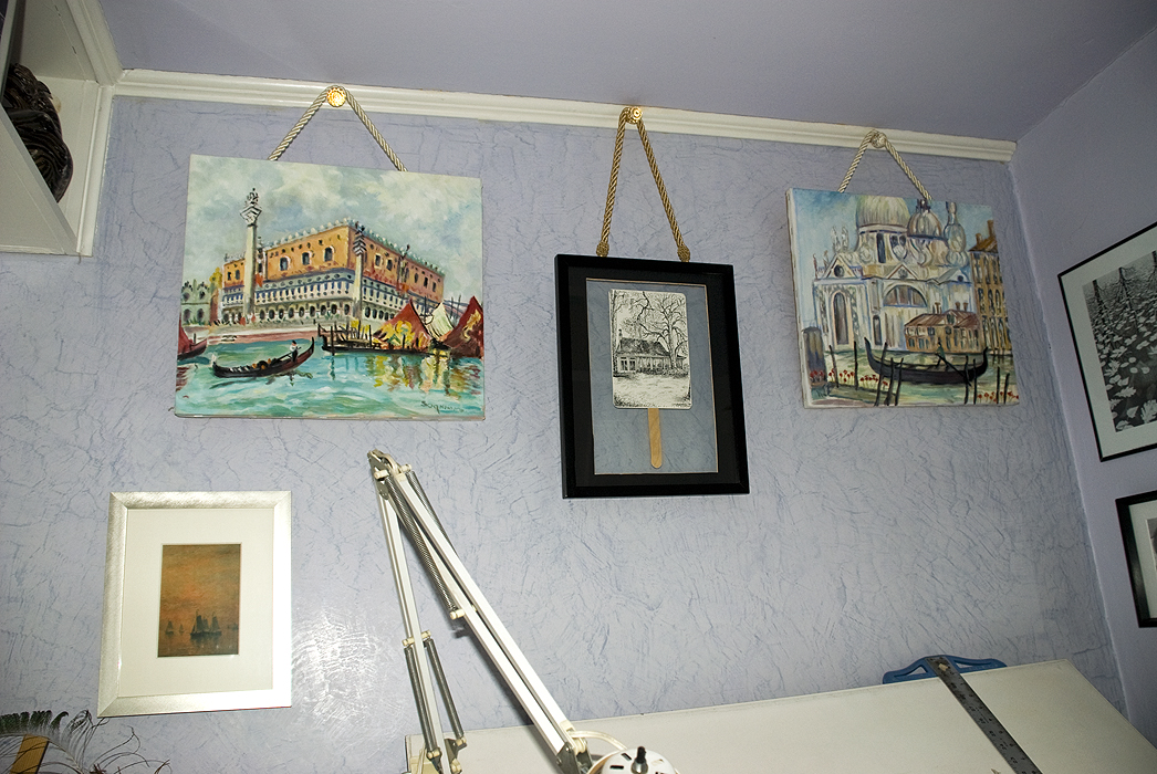 My Studio with Aunt Katherine\'s artwork. Photo by C. Ashley Spencer