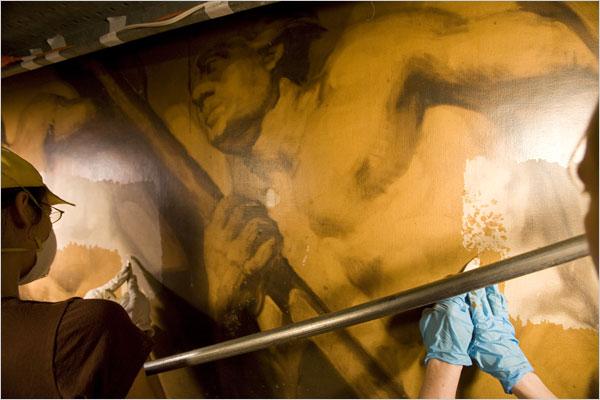 Restoring Art Deco Murals at Rockefeller Center. NY Times