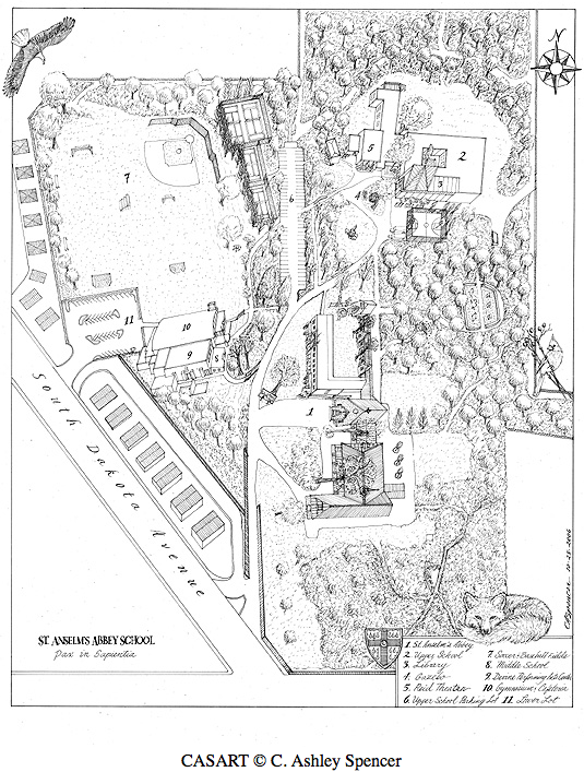 St. Anselm\'s Abbey School Illustration by C. Ashley Spencer