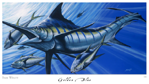 golden-blue-marlin-painted-by-sam-welty. ArtIsEverywhere blog