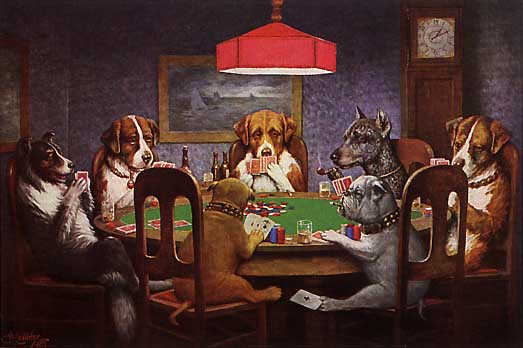 """A Friend in Need""/Dogs Playing Cards by C.M. Coolidge"