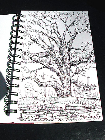 River Farm Sketch. Sketch and Photo by C. Ashley Spencer