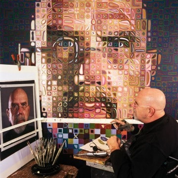 Chuck Close in Studio Photo Walker Art by Michael Mritone, on Art Is Everywhere