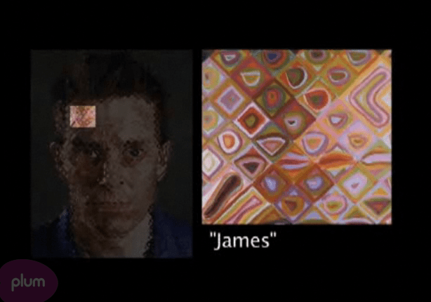 Detail of colors used in James by Chuck Close via PlumTV, on Art Is Everywhere