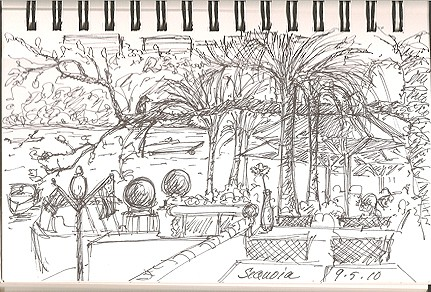 Sketch of Sequoia's Mezz Patio Bar by C. Ashley Spencer, Art Is Everywhere