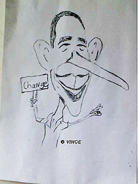 Obama caricature by Vince, as seen on Art is Everywhere
