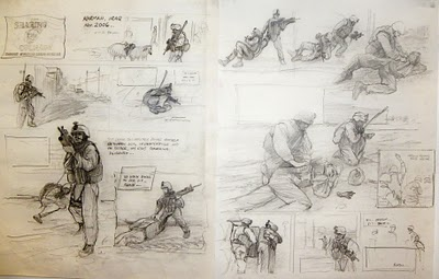 Iron+Sgt+Storyboard by Kristopher Battles via his Sketchpad Warrior blog, on ArtIsEverywhere