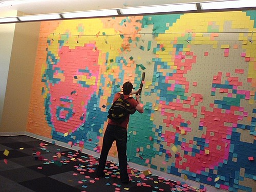 Marilyn Post-it Mural from Buzzfeed on Art Is Everywhere