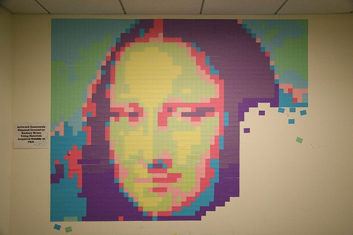 Mona Lisa Post-it Note mural from Buzz Feed on Art Is Everywhere