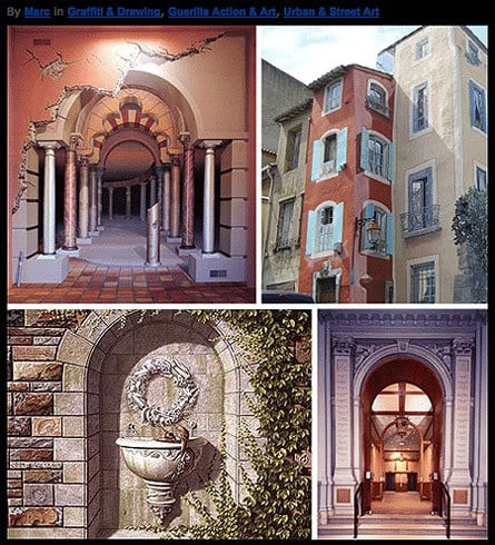 Trompe l'oeil murals via web-urbanist, as seen on Art-Is-Everywhere