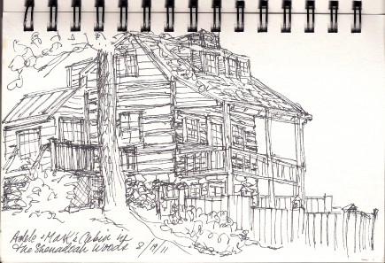 Cabin in the woods 1 sketch by C. Ashley Spencer, as seen on Art Is Everywhere