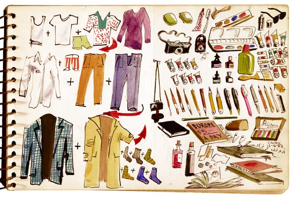 Adolf Konrad's graphic packing list, as seen on Art Is Everywhere