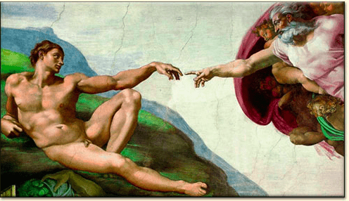 michelangelo-creation-of-man as seen on Art Is Everywhere