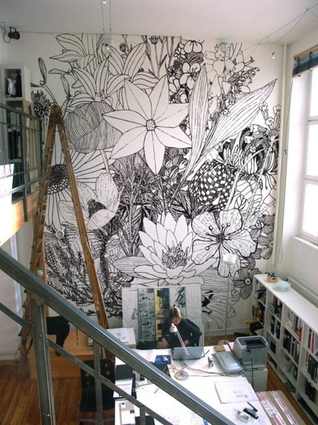 flower mural_via PWstyle, as seen on Art Is Everywhere