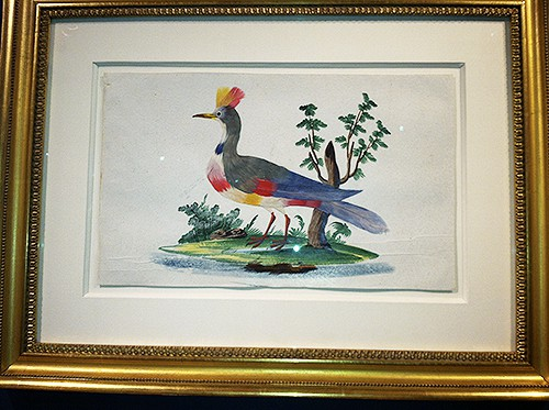 Painted birds with watercolor with feathers via Arader Galleries, as seen on Art is Everywhere