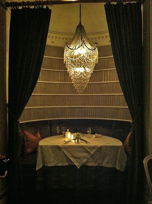 Our romantic book nook at Plume, seen on Art Is Eveyrwhere