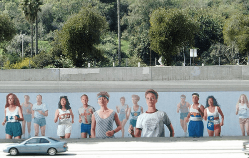 Kent Twitchell's Marathon Runners in Los Angeles parking lot via juxtapoz, seen on Art Is Eveyrhwere