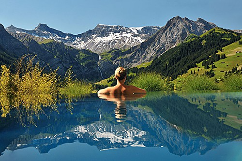 cambrian-infinity-pool-view-swiss-alps-adelboden-switzerland by The Cambrian Hotel on AIE blog