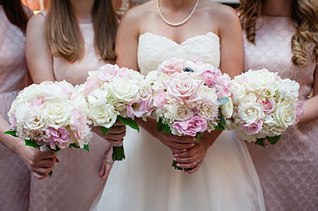 And bouquets with bridesmaids