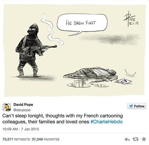 Charlie Hebdo cartoon reaction 1 on Art Is Everywhere