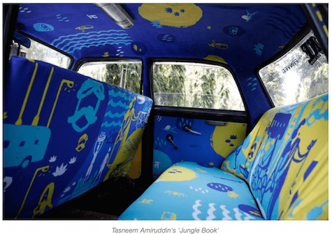 Example of one of the taxicabs fitted with taxifabric on Art Is Everywhere