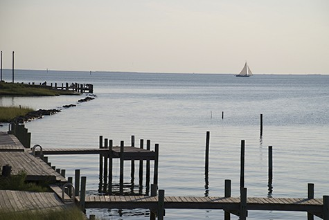 Sailboat view from dock on AIE