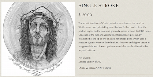 Jake Weidmann_single stroke portrait of Christ on Art Is Everywhere