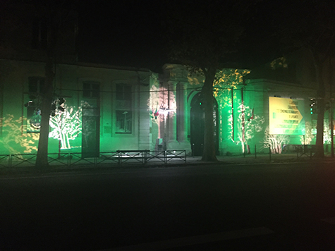Trees and green projection at COP21 conference in Paris on Art Is Everywhere