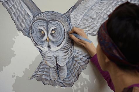 Jane Kim of InkDwell paints Great grey owl detail on Art Is Everywhere