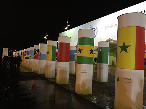 In Paris COP21 country flag columns on Art Is Everywhere
