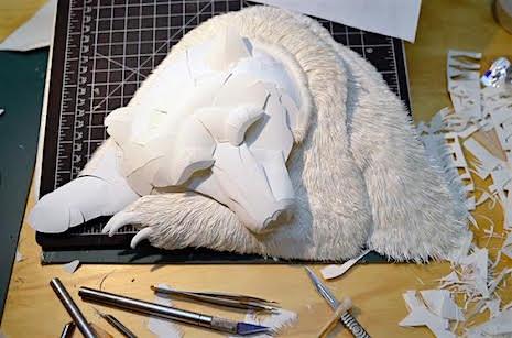 2_Paper Sculpture Calvin Nichols_bear-process_AIE