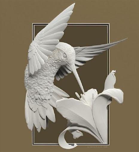 5_Paper Sculpture Calvin Nichols_hummingbird_AIE