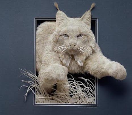Bobcat_Paper Sculpture Calvin Nichols_AIE