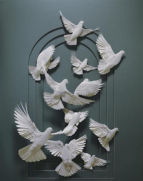 Flying Doves_Paper Sculpture Calvin Nichols_AIE