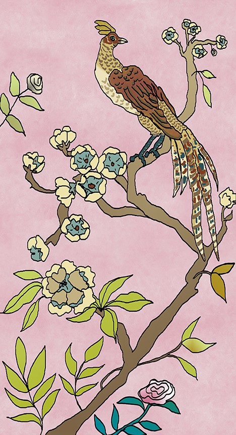 Casart Coverings Chinoiserie Mural Panel 4 in Dusty Pink self-adhesive wallpaper_Art Is Everywhere
