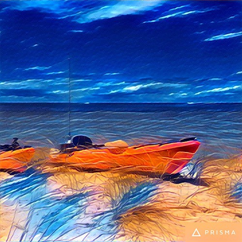 Kayaks with Running the Storm Prisma app filter_AIE