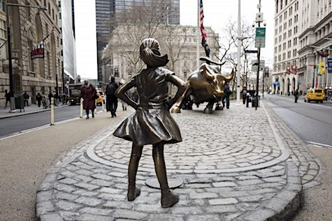 Fearless girl statue back via wbur_AIE