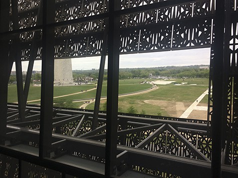 Panoramic Mall view from the top of NMAAHC on AIE