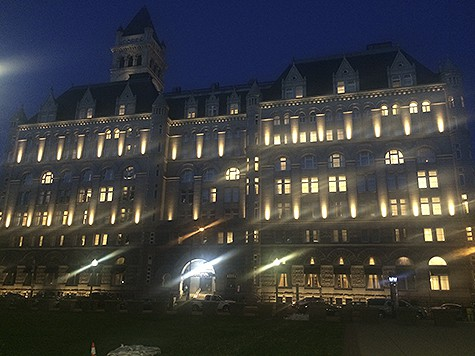 Trump DC Hotel at night on AIE