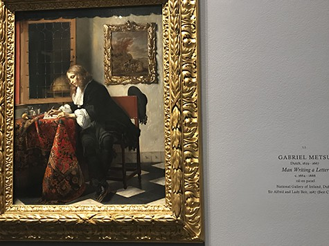 Man writing painting by Metsu_AIE