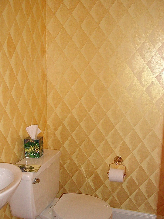 Gold Faux Quilted Harlequin Bthrm_NW by Ashley Spencer