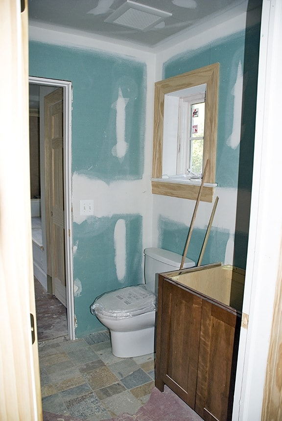 Before/Powder Room with existing teal