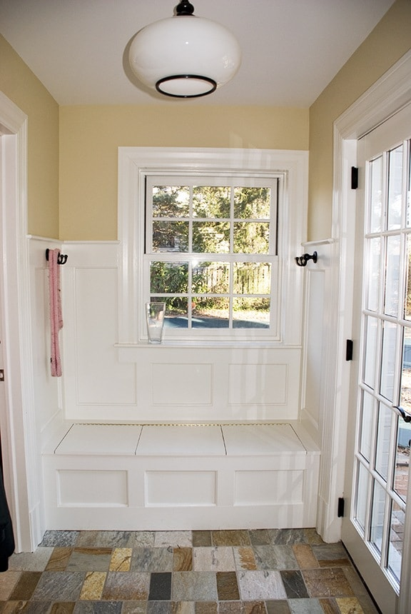 After/ Mud Room with complimentary color with stone floor