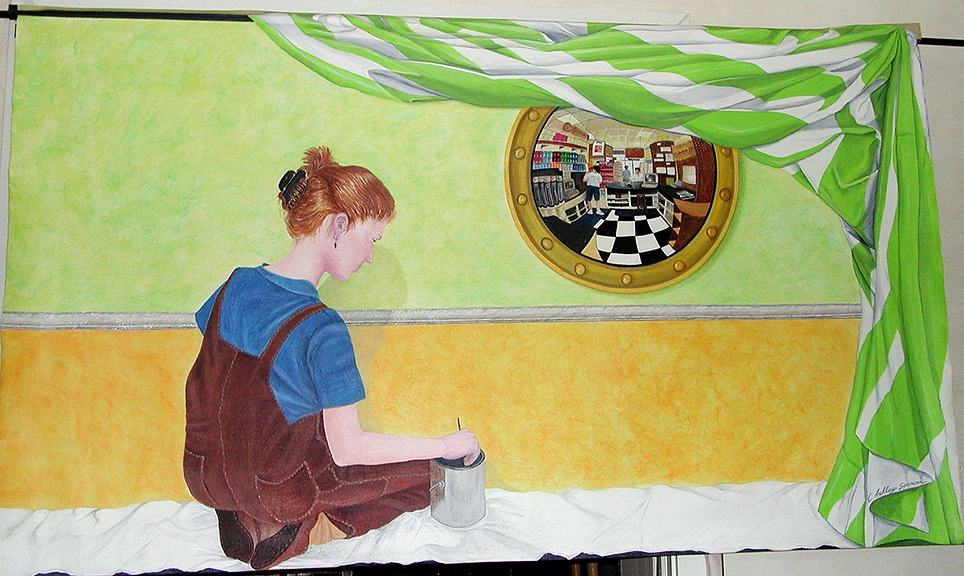 Trompe l'Oeil Self Portrait Mural