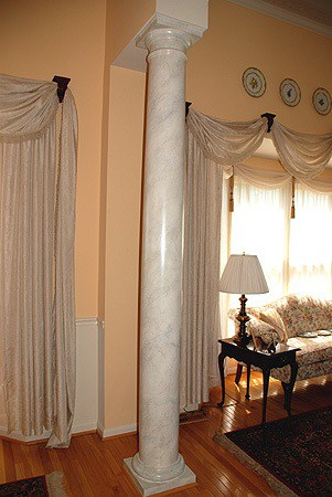 Faux Carrara Marble columns painted by Ashley Spencer
