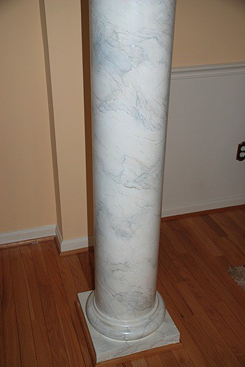 Faux Carrara Marble column painted by Ashley Spencer